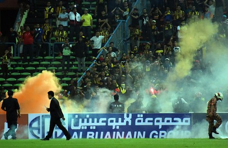 XXX of Saudi Arabia battles with XXX of Malaysia during the 2018 Russia FIFA World Cup and 2019 UAE Asian Cup joint qualifying match between Malysia and Saudi Arabia at the Shah Alam Stadium on September 8, 2015 in Kuala Lumpur, Malaysia.